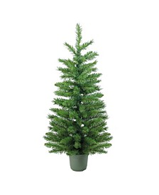 4' Slim Green Walkway Artificial Potted Christmas Tree - Unlit