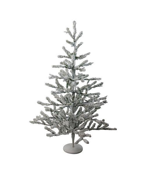 "Northlight 36"" Flocked Alpine Coral Artificial Christmas Tree - Unlit"