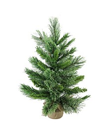"24"" Mixed Cashmere Pine Artificial Christmas Tree in Burlap Base - Unlit"