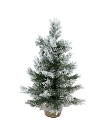"18"" Flocked Pine Artificial Christmas Tree in Burlap Base - Unlit"
