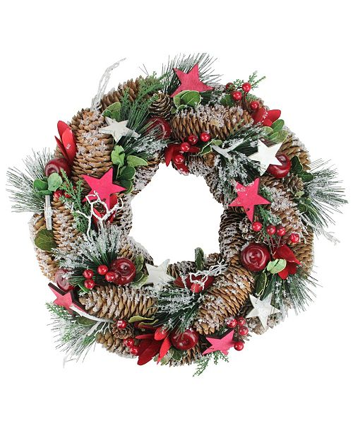 Northlight Berries Apples Stars and Pine Cones Frosted Christmas Wreath - Unlit
