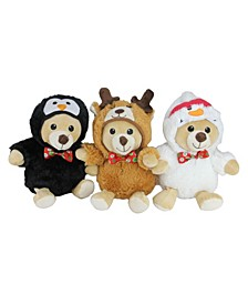 Set of 3 Plush Teddy Bear Stuffed Animal Figures in Christmas Costumes 8""