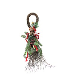 """24"""" Frosted Berries Pine Cones and Evergreen Sprigs Artificial Christmas Teardrop Swag"""