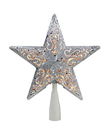 Silver-Tone Glitter Star Cut-Out Design Christmas Tree Topper - Clear Lights