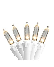 "Set of 35 Warm White LED Mini Christmas Lights 4"" Spacing - White Wire"