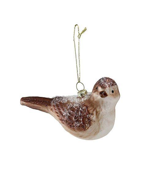 "Northlight 4.5"" Snowy Glitter Sparrow Glass Bird Christmas Ornament"