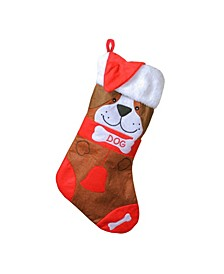 "17"" Red and Brown Embroidered ""DOG"" Christmas Stocking with White Cuff"
