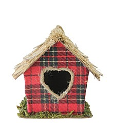 """5.25"""" Red Plaid Christmas Birdhouse Ornament with Heart Shaped Door"""