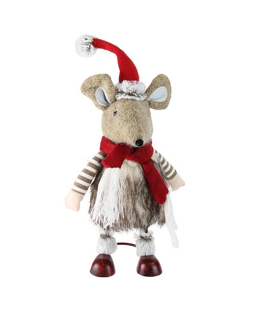 """Northlight 12"""" Fuzzy Brown Bouncy Bobble Action Mouse Christmas Figure Decoration"""