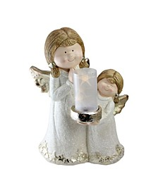 """16"""" Two Angels with LED Micro Light Lantern Christmas Decoration - White Light"""