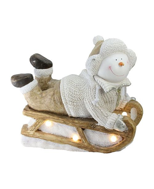"Northlight 15.5"" Battery Operated LED Lit Snowman Sleigh Christmas Table Top Decoration"