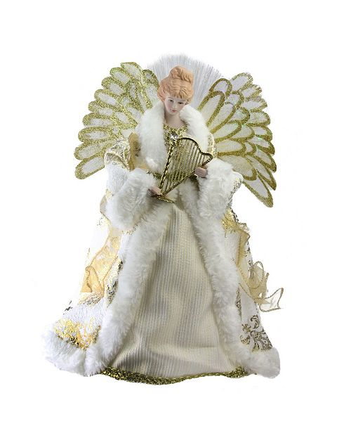 """Northlight 12"""" Lighted Fiber Optic Angel in Gold and Cream Gown with Harp Christmas Tree Topper"""