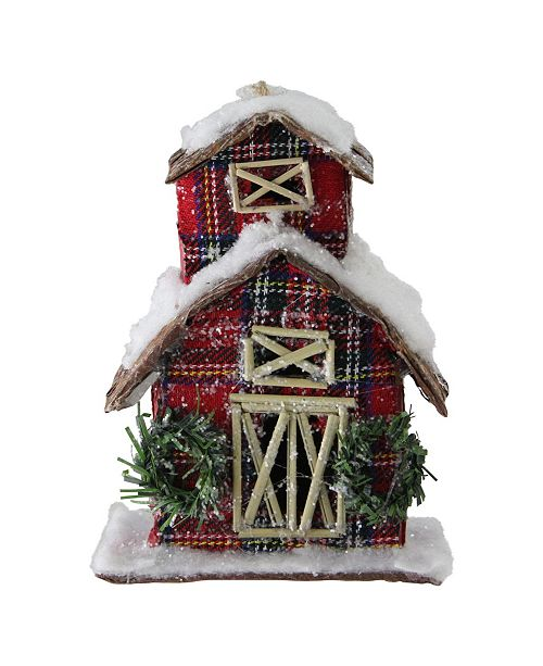 "Northlight 5"" Classic Red Plaid Glitter Snow Covered Barn Christmas Ornament"