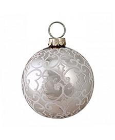 """4"""" 100MM Nature's Luxury Victorian-Style Scrollwork on Rose Gold Glass Christmas Ornament"""