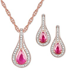 2-Pc. Set Sapphire (1 ct. t.w.) & Diamond (1/20 ct. t.w.) Pendant Necklace & Matching Drop Earrings in Sterling Silver (Also available in Ruby or Emerald)