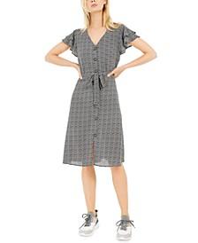 Petite Printed Layered-Sleeve A-Line Dress