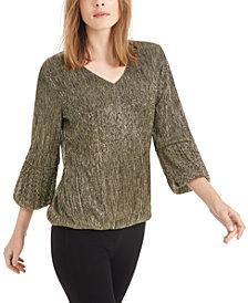 Alfani Metallic 3/4-Sleeve Top, Created For Macy's