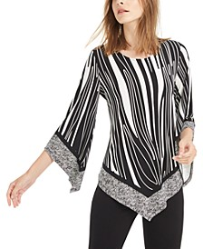 Mixed Print V-Hem Top, Created For Macy's