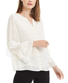 Embellished Ruffled-Sleeve Blouse, Created for Macy's