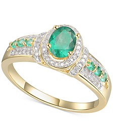 Emerald (5/8 ct. t.w.) & Diamond (5/8 ct. t.w.) Statement Ring in 14k Gold Over Sterling Silver