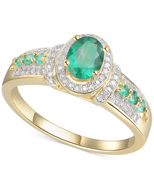 Macy's Emerald (5/8 ct. t.w.) & Diamond (5/8 ct. t.w.) Statement Ring in 14k Gold Over Sterling Silver