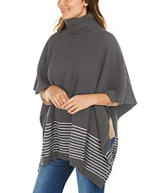 Textured Metallic Stripe Poncho