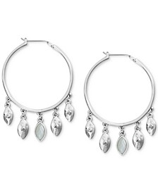 "Large Silver-Tone Pavé & Mother-of-Pearl Fringe Hoop Earrings 2-1/3"""