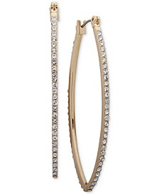 Medium Gold-Tone Pavé Hoop Earrings 2""
