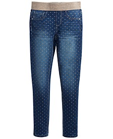 Big Girls Pull-On Dot-Print Jeans