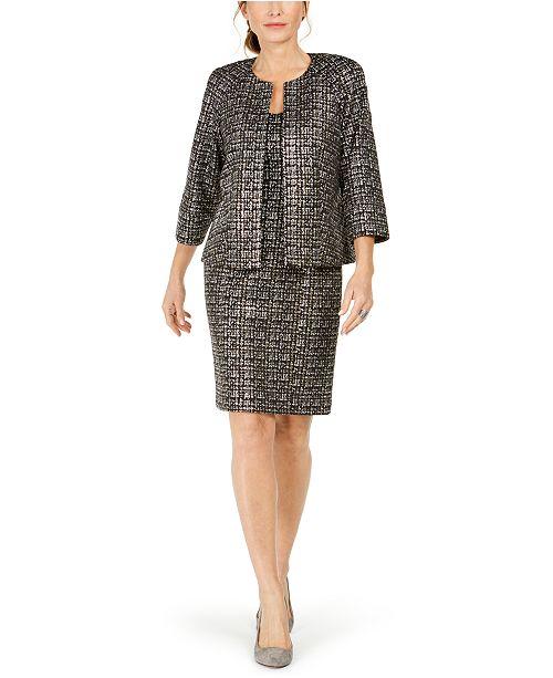 Kasper Open-Front Jacket & Square-Neck Sheath Dress