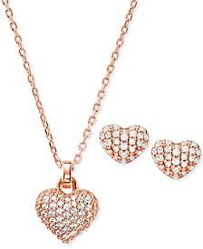 "Sterling Silver Pavé Puffy Heart Pendant Necklace & Stud Earrings Set, 16"" + 2"" extender"