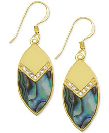Crystal & Simulated Shell Marquise Drop Earrings