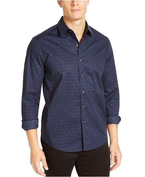 Tasso Elba Men's Stretch Paisley Print Woven Shirt, Created For Macy's