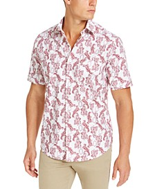 Men's Paisley Print Short Sleeve Shirt, Created For Macy's