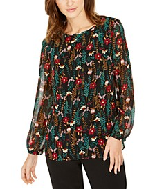 Floral-Print Sheer-Sleeve Top