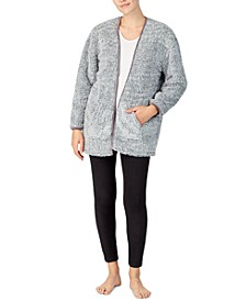 Open Front Faux-Fur Cardigan