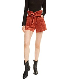 Faux-Suede Paperbag Shorts