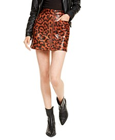 Leopard-Print Zip-Front Mini Skirt