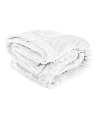 Silky Soft Plush Blanket with Corduroy Trim, Twin