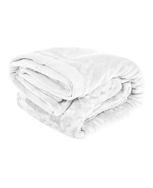 Elle Decor Silky Soft Plush Blanket with Corduroy Trim, Twin