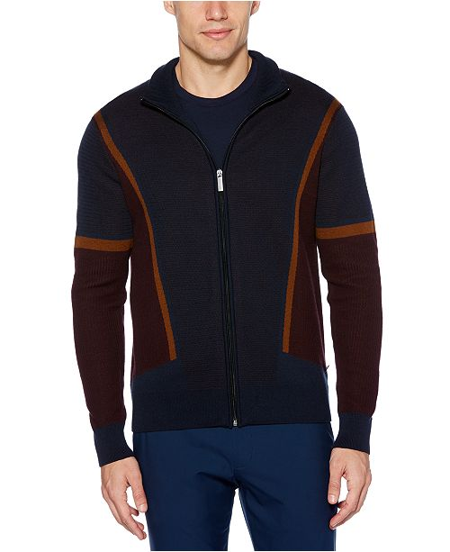 Perry Ellis Men's Colorblock Full Zip Sweater