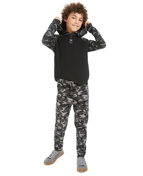 Epic Threads Big Boys Camo-Print Thermal Hoodie & Stretch Camouflage Twill Cargo Joggers, Created For Macy's