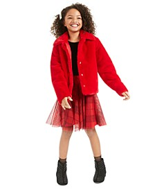 Big Girls Faux-Fur Jacket & Velvet & Plaid Dress, Created For Macy's