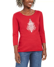Petite Glistening Tree Cotton Top, Created For Macy's