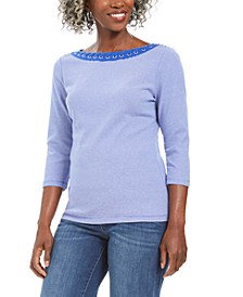 Petite Printed 3/4-Sleeve Cotton Top, Created For Macy's