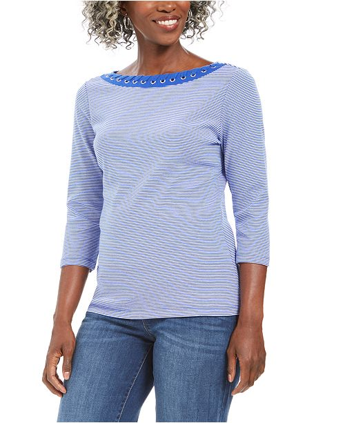 Karen Scott Petite Printed 3/4-Sleeve Cotton Top, Created For Macy's