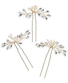 3-Pc. Set Crystal & Imitation Pearl Bead Bobby Pins, Created for Macy's