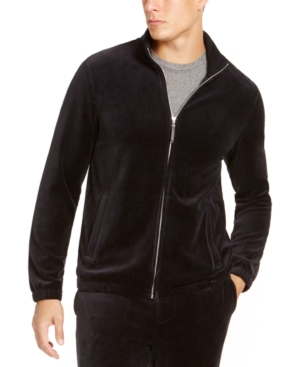 60s 70s Men's Jackets & Sweaters Tasso Elba Mens Velour Track Jacket Created For Macys $24.93 AT vintagedancer.com