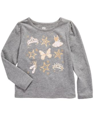 Little Girls Ballet Crown Long Sleeve T-Shirt, Created For Macy's