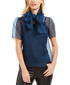 Silk Sheer Bow-Tie Top